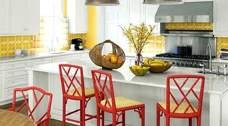 طراحی آشپزخانه با رنگ شاد